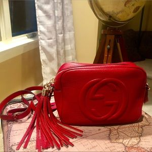 Gucci Soho Disco Bag Leather Purse Red GG